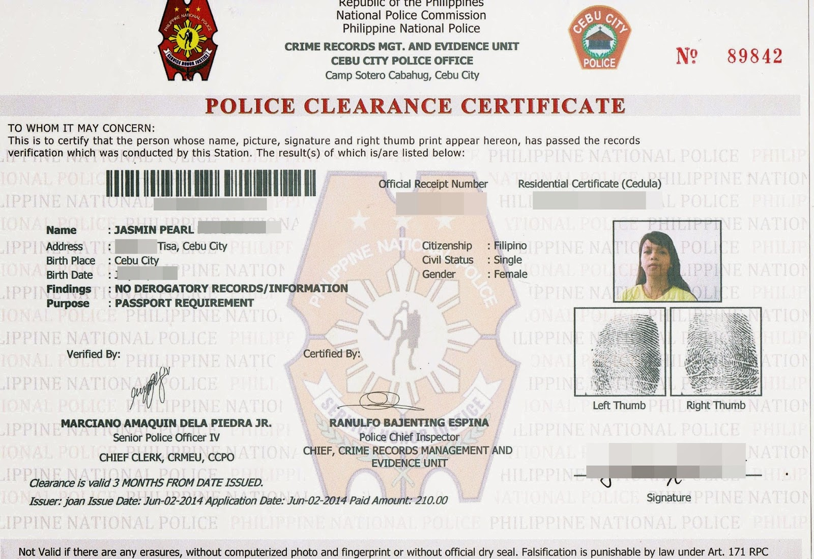 Form new police clearance form for citizenship citizenship for clearance form police for other clearance use as get id police to primary how 1betcityfo Choice Image